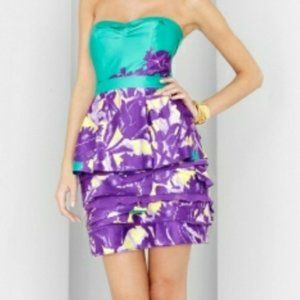 BCBG MaxAzria Teal and Purple Strapless Dress